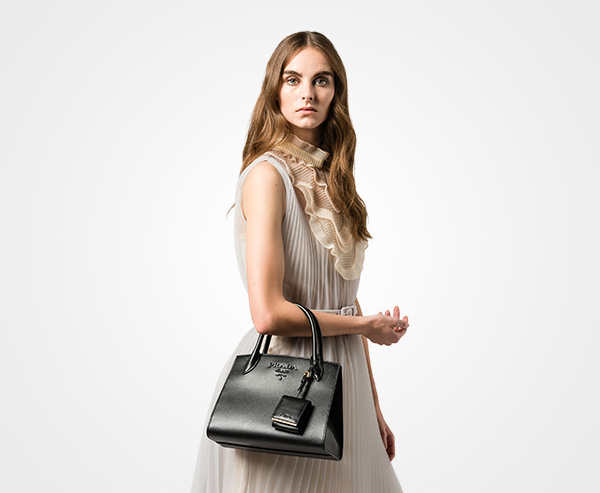 b378dcfff874 ... Prada Monochrome Saffiano leather bag Prada BLACK ...