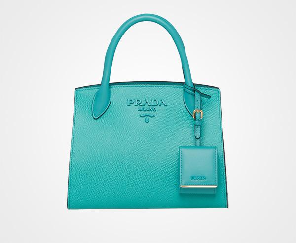 1731a5258640 Prada Monochrome Saffiano leather bag Prada JADE GREEN ...