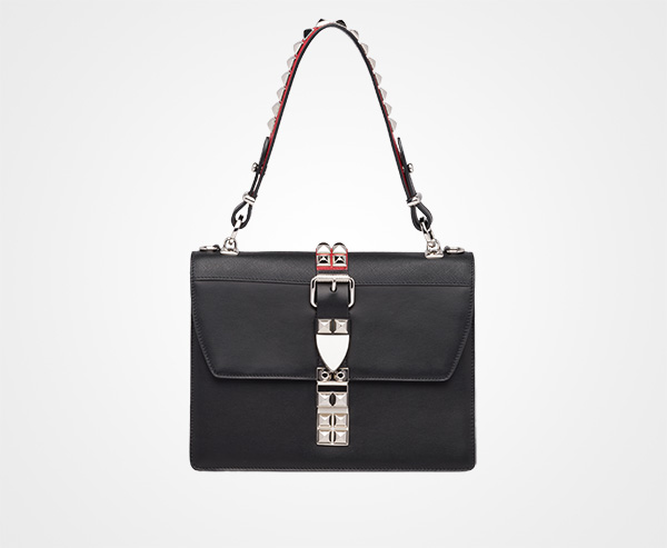 efc1ff903aca Prada Elektra Leather shoulder bag Prada BLACK/FIERY RED ...