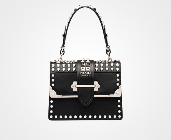 9e41d0679034 Prada Cahier studded leather bag Prada BLACK ...