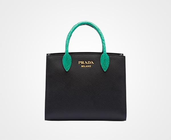 d1e20bfbb0f6 Saffiano leather and crocodile bag Prada BLACK/MANGO 1 ...