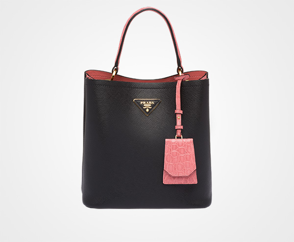 28083fd1cf0a Prada Panier crocodile and leather bag Prada BLACK PETAL PINK ...