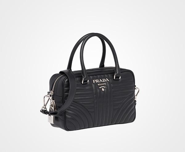 7685dc6afcbc ... Prada Diagramme leather handbag Prada BLACK ...