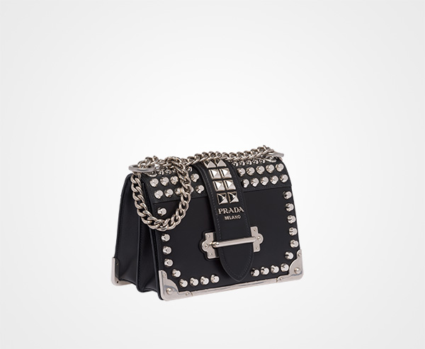 bea9718427 ... Prada Cahier studded leather bag Prada BLACK ...