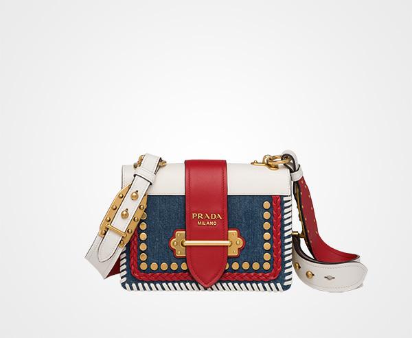 6a0e1f1e8d4d54 Prada Cahier calf leather and denim bag Prada BLUE/FIERY RED ...