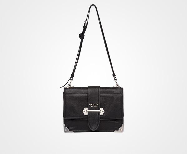 e7d2a5d57f01 Prada Cahier leather shoulder bag Prada BLACK/ASTRAL BLUE 1 ...