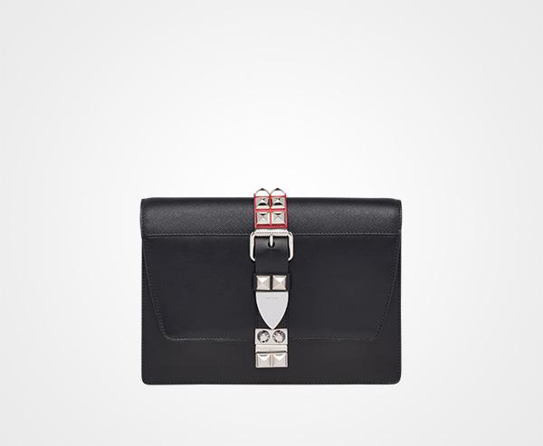 7a9147f120c7cd Prada Elektra calf leather bag Prada BLACK/FIERY RED ...