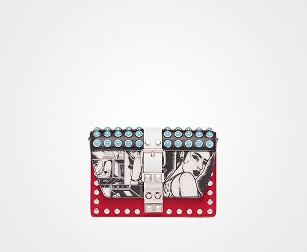 3b29aae900a2 Prada Elektra leather shoulder bag Prada STEEL GRAY/FIERY RED ...