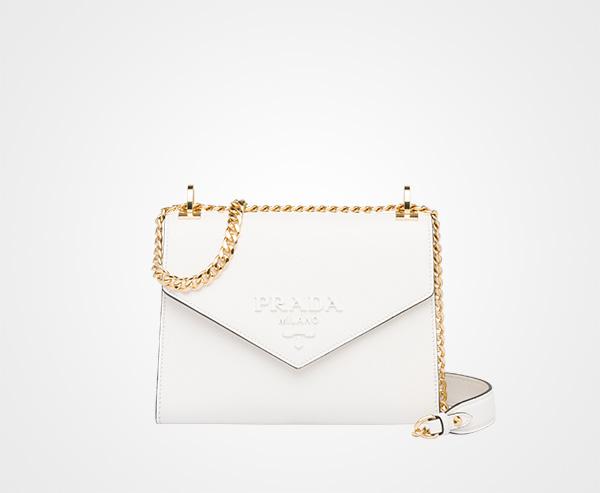 2d5d8bd156 Prada Monochrome Saffiano leather bag Prada WHITE ...
