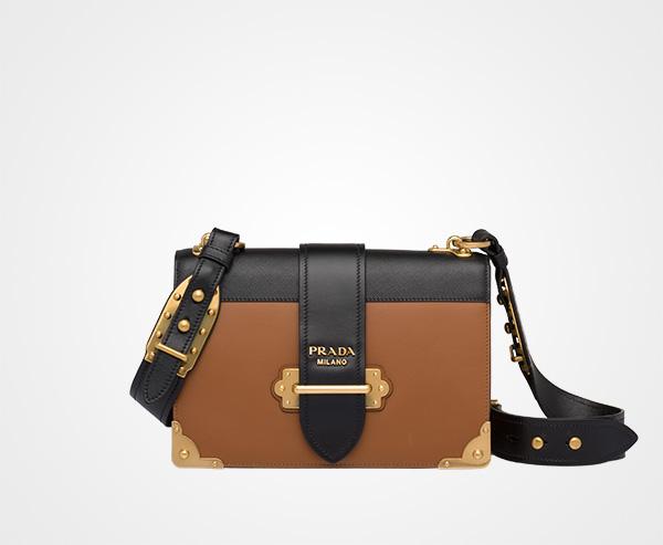 e1646199dd01 Prada Cahier Large leather bag Prada COGNAC/BLACK ...