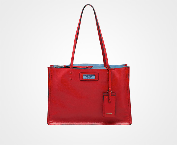 Etiquette tote bag - Red Prada