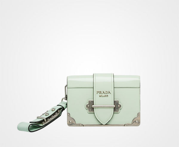 3db0b7de338d Prada Cahier leather clutch bag Prada AQUA ...
