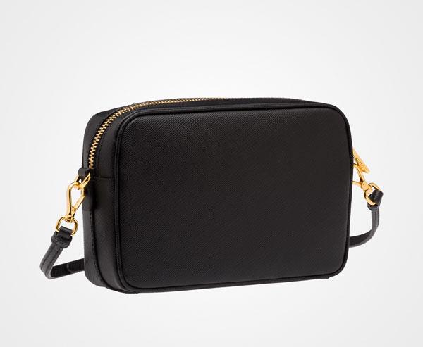 29778dc694 ... Leather Shoulder Bag Prada BLACK ...