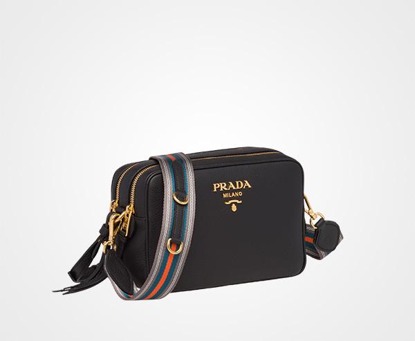 2c5d3bb6d8e77 ... Calf leather shoulder bag Prada BLACK ...