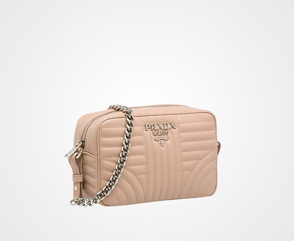 cf2bd5b0f0 ... Prada Diagramme leather cross-body bag Prada POWDER PINK ...