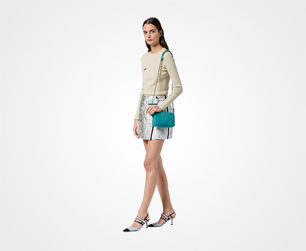 70eb5b4b1a ... Prada Diagramme leather cross-body bag Prada JADE GREEN ...
