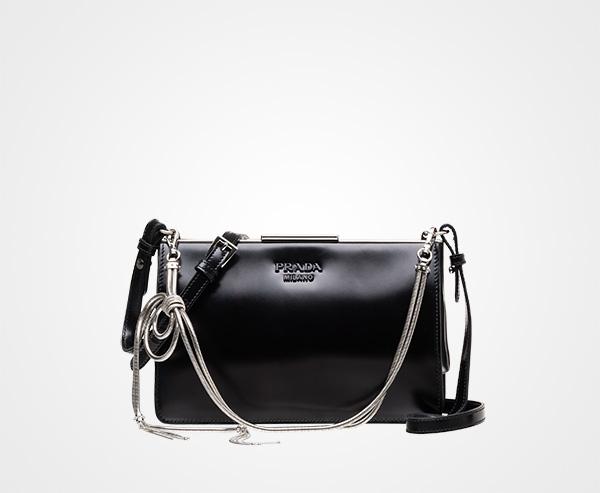 472b6c1c24fd Leather cross-body bag Prada BLACK ...