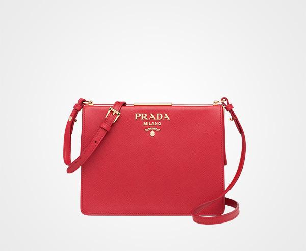 e6a9ea8e8f59 Prada Light Frame Saffiano leather bag Prada FIERY RED ...