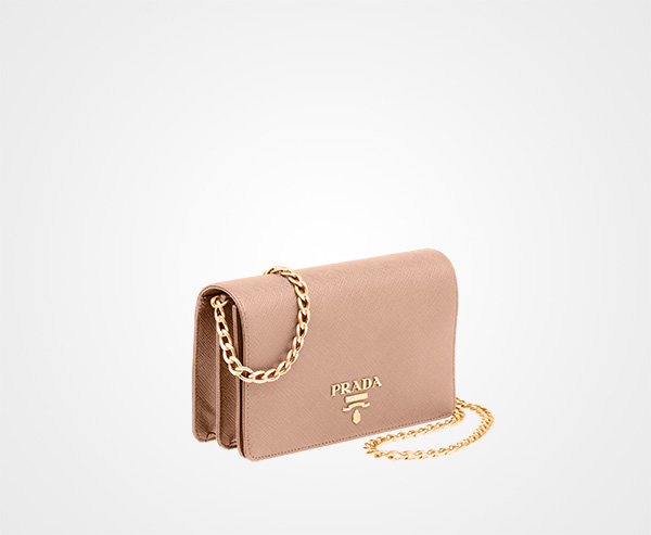 ... Leather Shoulder Bag Prada CAMEO BEIGE ...