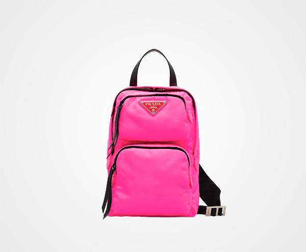 ec44e0983d3c Nylon one-shoulder backpack Prada NEON PINK ...