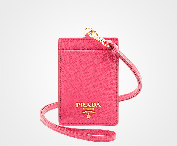 a0552c13fbf9 Leather Badge Holder Prada PEONY PINK ...