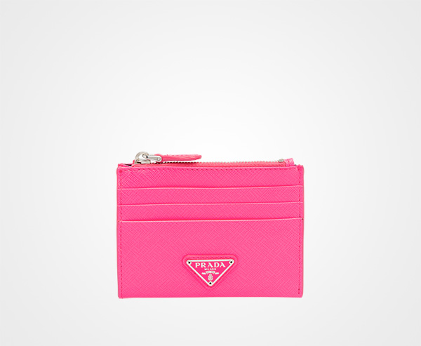 saffiano leather credit card holder prada neon pink - Pink Card Holder