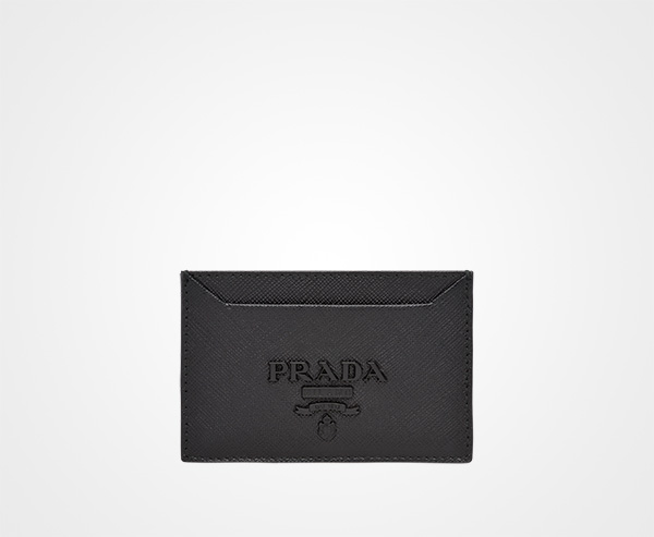 a6f83d0c81885c Saffiano leather credit card holder Prada BLACK ...