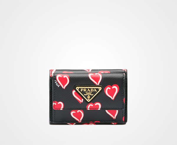 0b7e606144c2 Small printed Saffiano leather wallet Prada BLACK HEARTS MOTIF/FIERY RED ...