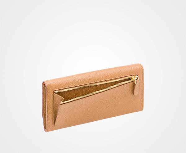 6fd2b51623ffe0 ... Leather Wallet Prada CARAMEL/PAPAYA ...