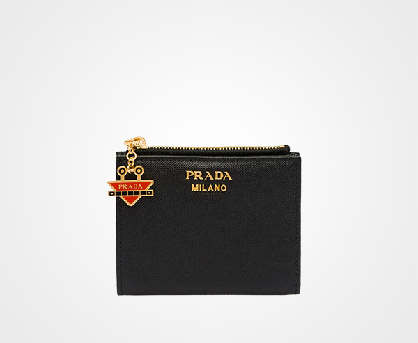 2669355a9cb2 Small Saffiano leather wallet Prada BLACK/FIERY RED ...