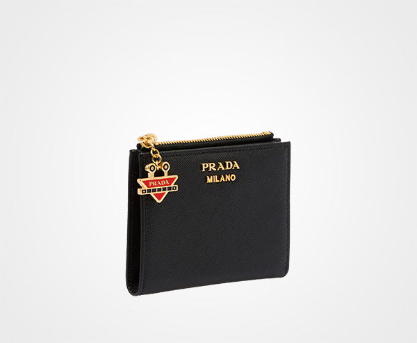 c428cc45f36a ... Small Saffiano leather wallet Prada BLACK/FIERY RED ...
