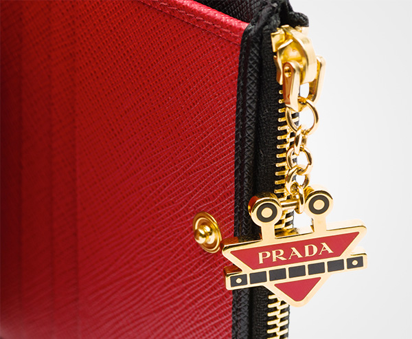 fcd8f4baee42 ... discount code for small saffiano leather wallet prada black fire engine  red 683a2 795bd