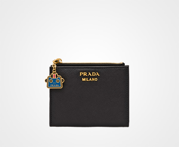 cd031055dde79d Small Saffiano leather wallet Prada BLACK / SEA BLUE ...