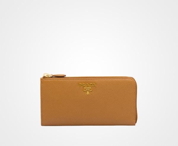 405f63e3be7b Large Saffiano leather wallet Prada CARAMEL ...