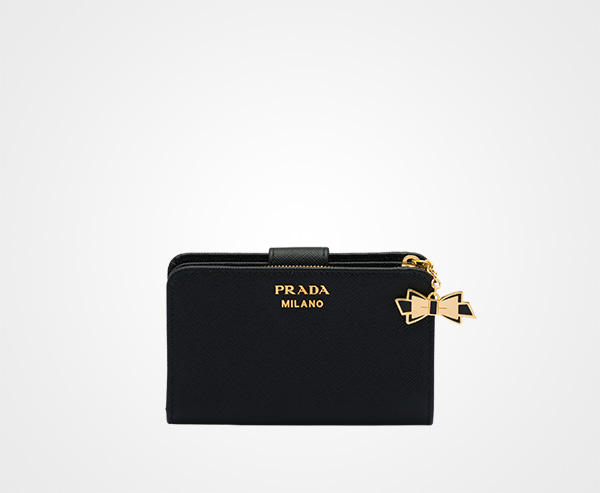 de92be6bcd84 Medium Saffiano leather wallet Prada BLACK ...