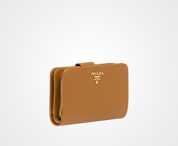 4c702e9860b9 Medium Saffiano Leather Wallet Prada CARAMEL ...