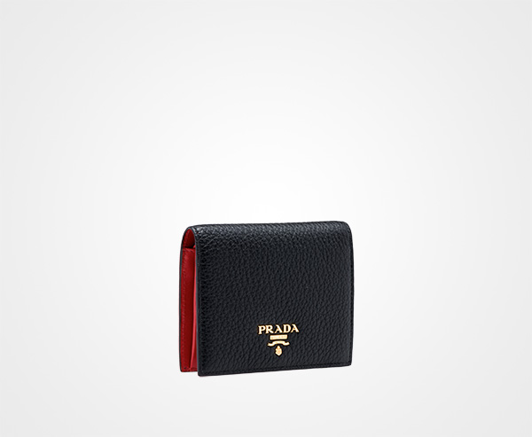 1c2005518499 ... top quality small leather wallet prada black fire engine red 59ce4 d84fe