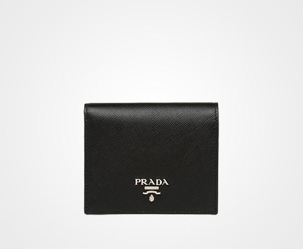 Small Saffiano Leather Wallet Prada BLACK ROSY BLUSH ... 6c788dae682