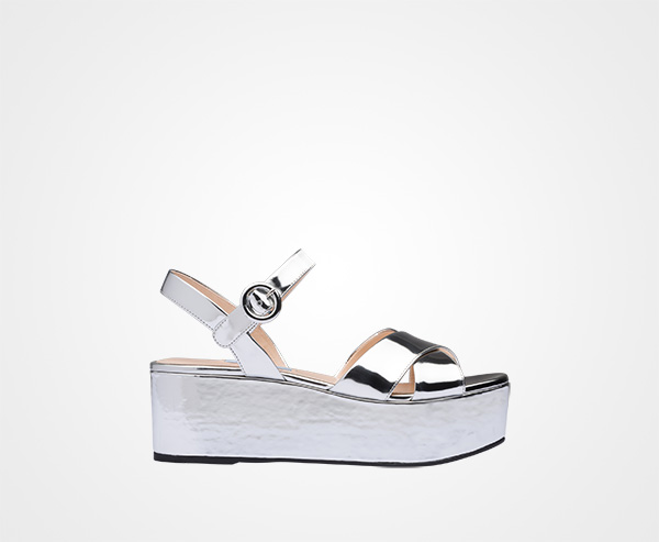 b3e7c303dbcf Metallic leather platform sandals Prada SILVER ...