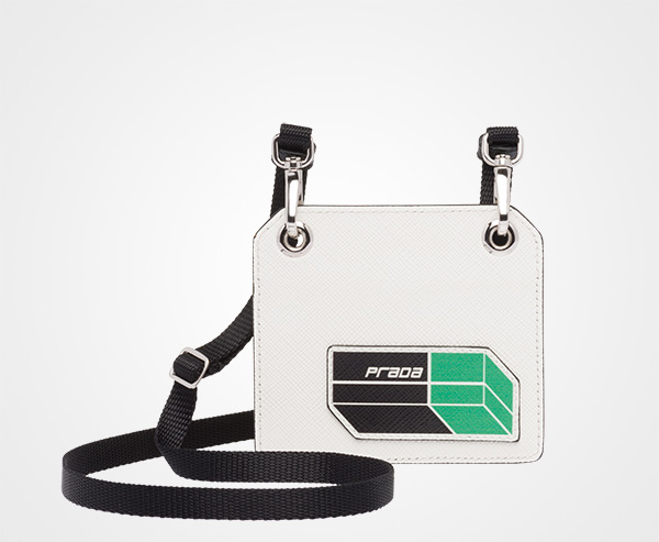 dd5815e309a1 Saffiano leather badge holder Prada WHITE/GREEN ...