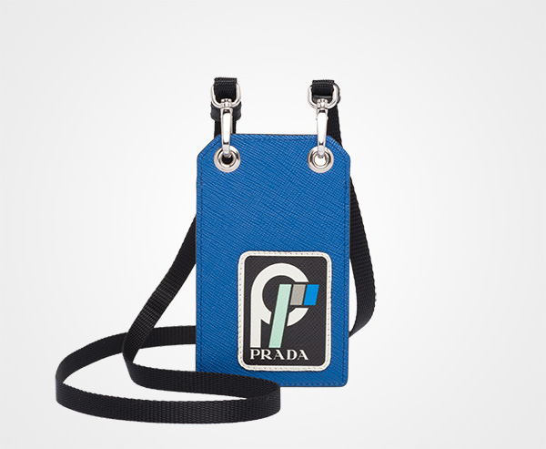 5dee03a7c50d Saffiano leather badge holder Prada LIGHT BLUE/BLACK ...