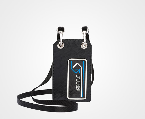 30e747ca16fb Saffiano leather badge holder Prada BLACK/LIGHT BLUE ...
