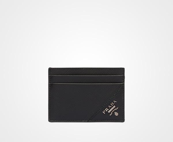95ea505b1c81 Saffiano leather card holder Prada BLACK ...
