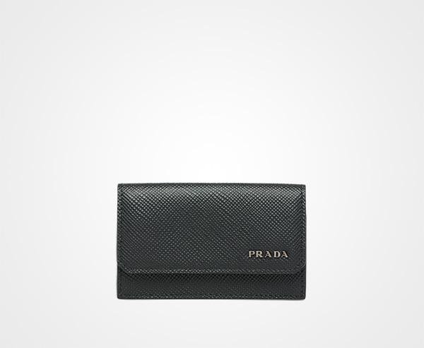 fb1582ceadb7 Saffiano leather card holder Prada BLACK ...