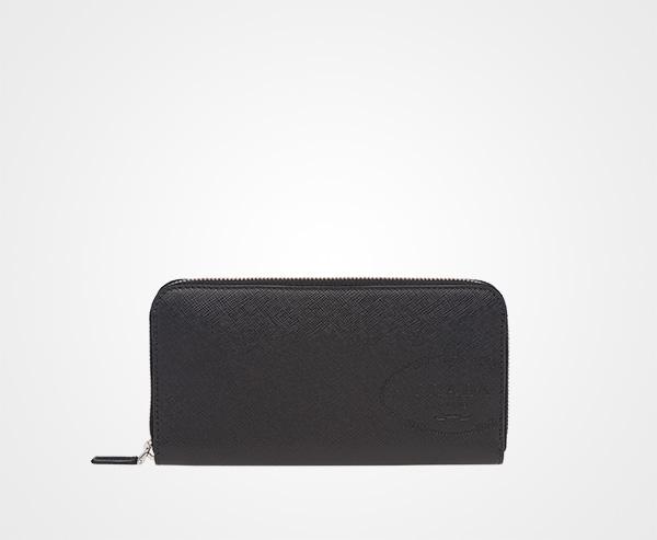 45c38561f629 Saffiano leather document holder Prada BLACK ...