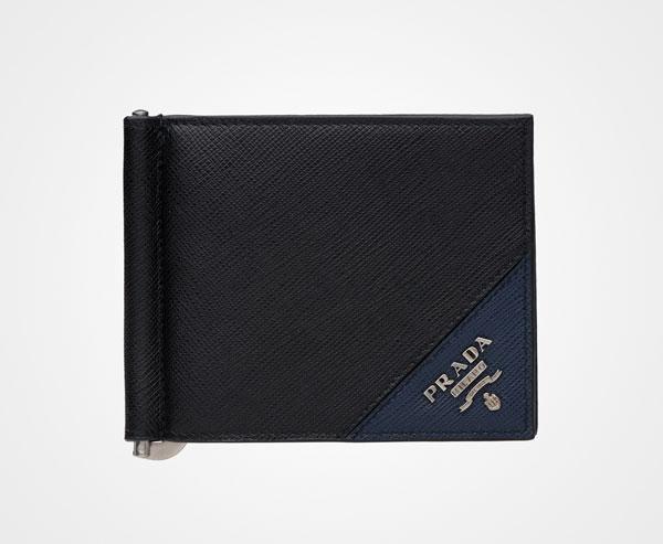 2c2d9d90b955 Leather Wallet Prada BLACK/BALTIC BLUE ...