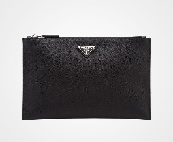 ffb976d7610e Saffiano Leather Pouch Prada BLACK ...