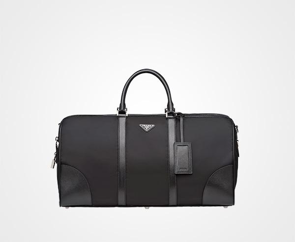 Nylon And Saffiano Leather Travel Bag Prada BLACK ... f2cd75586e592