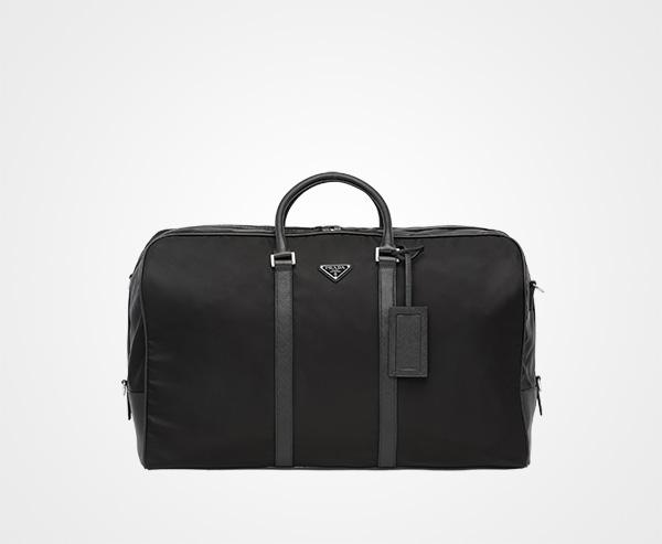d21dd84b6e39e8 Nylon and Saffiano leather duffle bag Prada BLACK ...