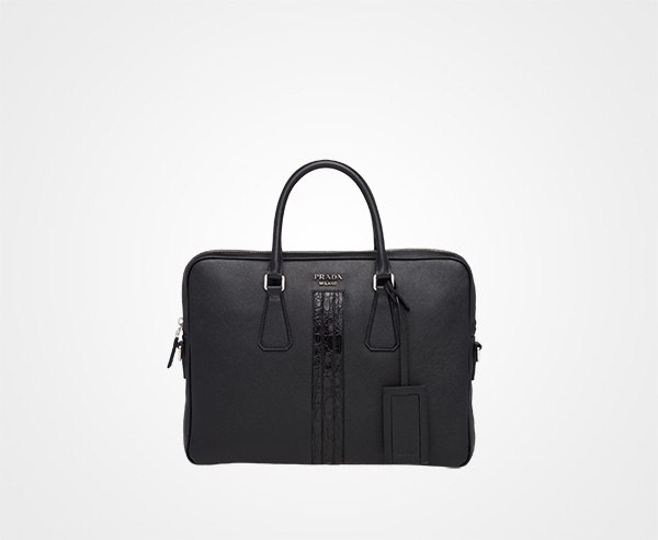 e6c9bdf3b432 Saffiano leather work bag Prada BLACK ...